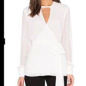 Finders Keepers wrap blouse top with sheer sleeves